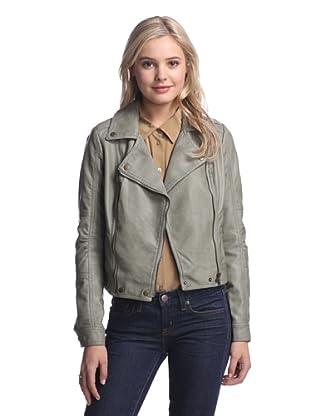 LatteBLACK  Women's Faux Leather Moto Jacket (Hazy Sage)