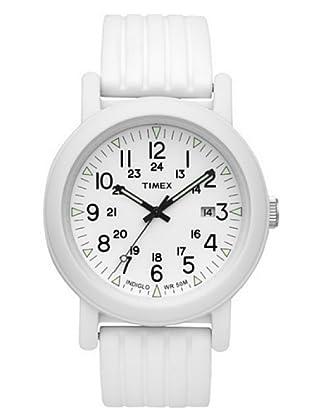 Timex T2N718. Reloj de Señora movimiento de cuarzo con correa de caucho Blanco