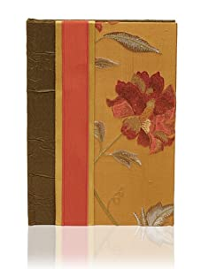 Molly West Crimson Bloom-Lined Journal, Green/Orange