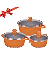 Wonderchef Ceramide Casserole Set, 3-Pieces, Orange