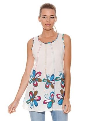Peace & Love Túnica Flores (blanco / azul)