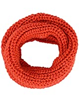 Classic Scarf for the Winter, Infinity Wrap in Sequined Yarn, Orange