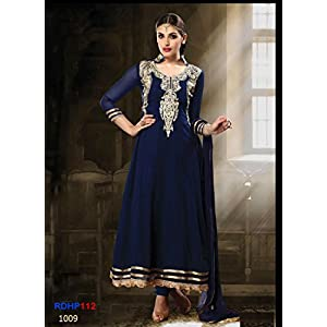 Rozdeal Latest Nevy Blue Long Embroidered Designer Anarkali Suit RDHP112-1009