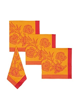 Mierco Fine Linens Set of 4 Poppies Jacquard Napkins, Gold/Red, 18