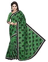 Divyaemporio Women Cotton Silk Self Print With Blouse Piece Sarees (Bhagalpuri Green Flock _Multi-Coloured _Free Size)