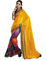 Faux Georgette Saree in Wine Colour for Party Wear