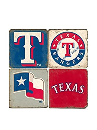 Studio Vertu Set of 4 Rangers Logoed Tumbled Marble Coasters with Stand