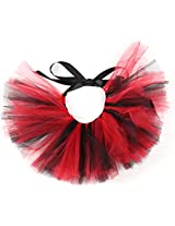 PAWPATU Team Spirit Tulle Tutu for Medium Dogs, Handcrafted in USA, Red and Black