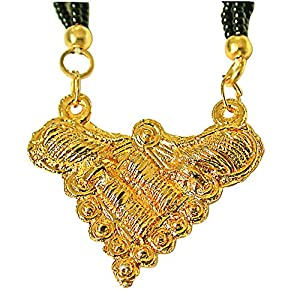 Surat Diamonds Gold Plated Mangalsutra Pendant with Black Kedia Beads Chain 30 IN for Women (MNG2)