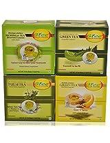 GTEE Moringa Tea Bags & Tulsi Tea Bags & Green Tea Bags - Regular & Green Tea Bags - Lemon & Ginger(10 Tea Bags X 4 PACKS)