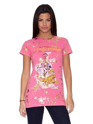 Ed Hardy Camiseta WomenŽS S/S Crewneck Tee (Rosa)