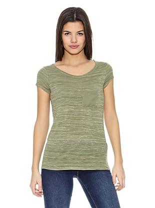 Springfield Camiseta Punto Cortado Bol (Verde)