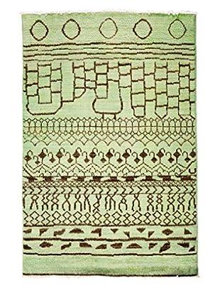 Solo Rugs Moroccan Oriental Rug, Green, 4' 1