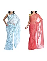 MemSahiba Women Semi-Chiffon Saree set of 2 (MS-1086-1044)