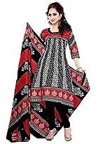 Krisha Print Women's Unstitched Churidar Salwar Suit (Black_Free Size)