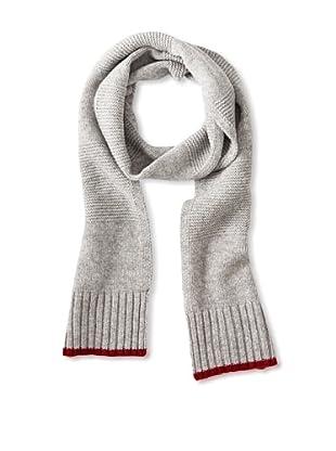 Sofia Cashmere Men's Contrast Trim Cashmere Scarf (Medium Grey/Red)