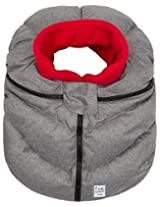 7 A.M. Enfant Cocoon Car Seat Cover-Heather Grey with Red Fleece Lining