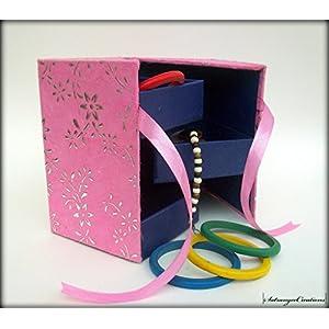 Satrangee Creations 3 Rack Jewellery Box in Pink Flower