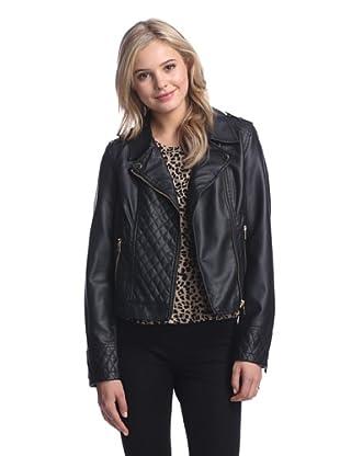 LatteBLACK  Women's Quilted Faux Leather Moto Jacket (Black)