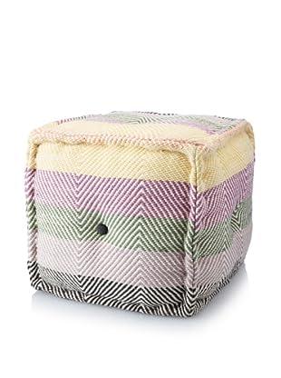 La Boheme Hand-Woven Cotton Chevron Cube Pouf, Multi