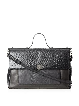 Charlotte Ronson Women's Mixed Exotic Satchel (Black)