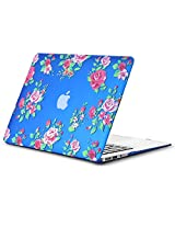 "Kuzy Vintage Flowers Rubberized Hard Case for MacBook Air 13.3"" (A1466 & A1369) - Blue"