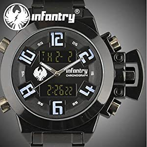 INFANTRY Mens LCD Chronograph Digital Alarm Quartz Army Watch Stainless Steel