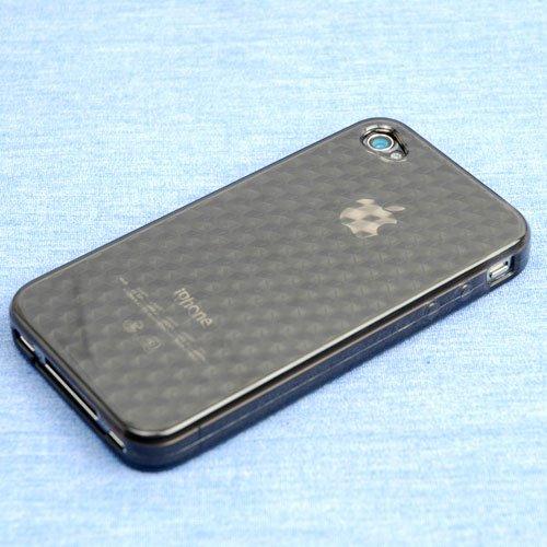 TPUケース for iPhone 4(ダイヤパターン)ブラック