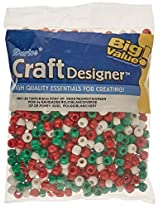 Darice Pony Opaque Xmas Beads (720 Pack), 6mm by 9mm, Red/White/Green