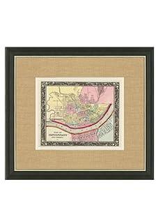 "Mitchell-Antique Map of Cincinnati, 1860's-1870's, 21"" x 23"""