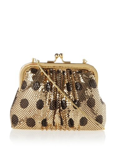 Felix Rey Women's Polka Dot Frame Clutch (Gold/Black)