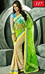 Neha Dhupia Beautiful In Cream & Green bollywood replica Saree