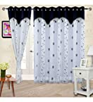 Cortina Embroidery Sheer Door Curtain With Lining