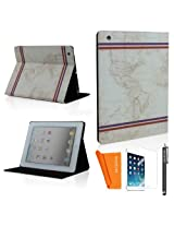 SAVEICON SAWE (TM) World Map Vintage Retro Classic Classic European book London Bridge Effiel Tower Bible style PU Leather Flip Folio Case Cover with Stand Sleep Function For the New iPad 2 3 4 Smart Cover + 1 Stylus, 1 Scree