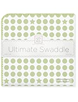 SwaddleDesigns Organic Ultimate Receiving Blanket, Dots and Stars, Kiwi