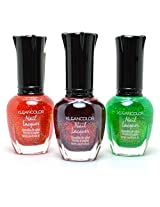 3 Kleancolor Nail Polish Chunky Holo Poppy Scarlet Clover Lacquer + Free Earring