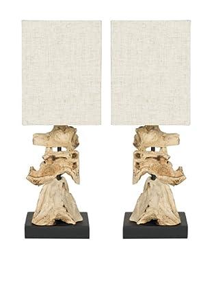 Safavieh Set of 2 Oregon Root Mini Table Lamp, Bleach With Bleach Linen Shade