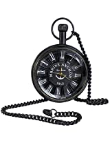 Classic Smooth Vintage Roman Numeral Metal Black Color Mens Womens Pocket Watch - 1.8 Inch