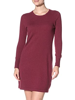 Cashmere Addiction Women's Crew Neck Sweater Dress (Oxblood)
