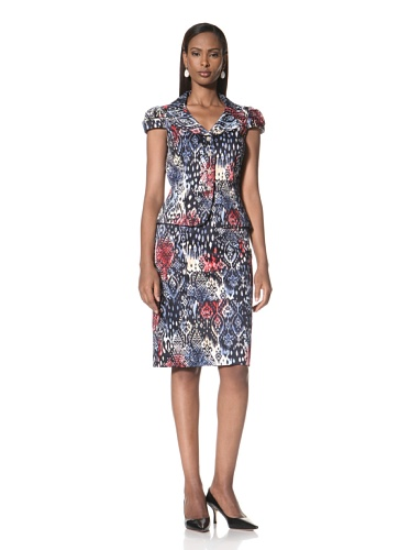 Tahari by A.S.L. Women's Printed Jacket and Matching Skirt (Navy)