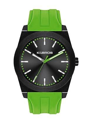 K&BROS 9560-1 / Reloj Unisex  con correa de caucho Negro / Verde