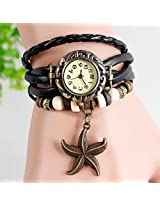 Leather Bracelet - Watch For Girls with Starfish charm Black