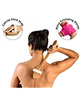 Dry Skin Brush With Bonus Pink Exfoliating Gloves Included. Long Handle And Detachable Head With Strap And 100% Boar Bristles. Hanging Rope, Eco Friendly. Get Sexier, Smoother, Younger Looking Skin.