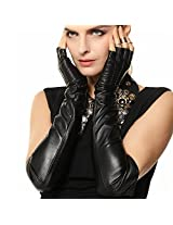 Warmen Ladies Opera Long Genuine Soft Nappa Leather Half Finger Gloves (L, Black)