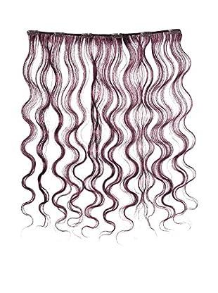 American Dream Einteilige, leicht gewellte 100% Echthaar-Clip-In-Extensions Farbe K633 - Chocolate Rot - 46cm, 1er Pack (1 x 1 Stück)