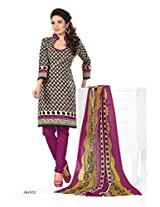 BanoRani Womens Black & Dark Pink Color PolyCotton Unstitched Dress Material