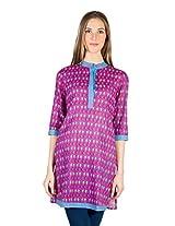 Panit Women's Cotton Kurta (PANI022A_Pink_Medium)