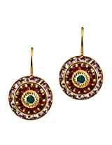 Liz Palacios Gold Plated Round Dangle Earrings in Violet, Padparascha and AB Swarovski Elements Crystal
