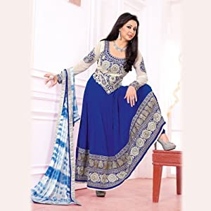 Blue and Offwhite Poly Georgette Long Frock.