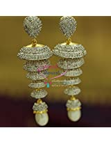 Gold Silver Two Tone Colour 5 Step White American Diamond Exclusive Design Jhumka